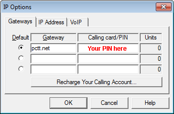 PC-Telephone menu Network-IP